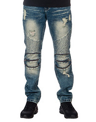 DECIBEL DENIM MOTO PANT WITH ZIPPERS DETAIL