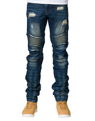 DECIBEL Long Stack Moto Denim