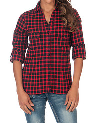 LOVE TREE ROLL CUFF PLAID SHIRT