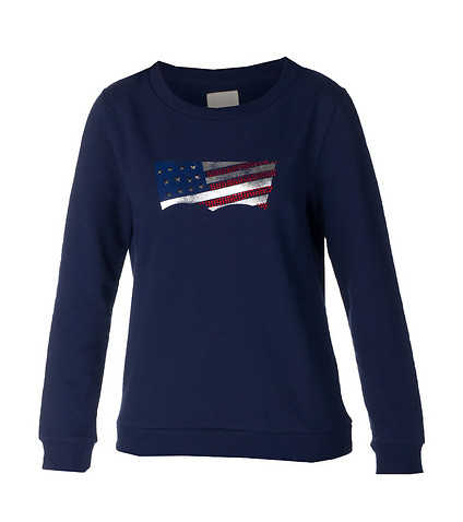 LEVIS WOMENS BATWING STARS AND STRIPES FLEECE TOP Navy