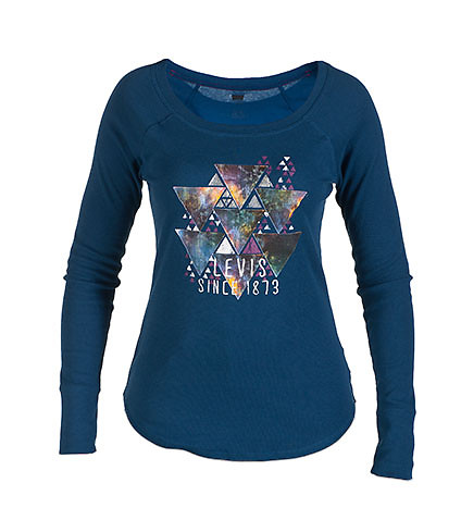 LEVIS WOMENS THERMAL TEE WITH CHEST GRAPHIC Navy