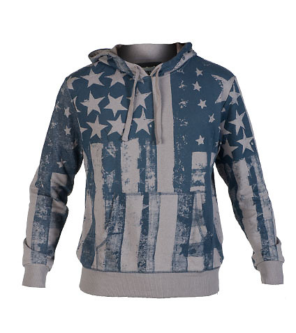 WAIMEA MENS FLAG QUILT HOODIE Medium Grey