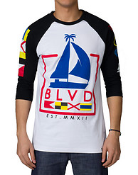 BLVD SUPPLY SQUARE YACHT 3 QTR SLEEVE RAGLAN TEE