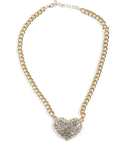 ESSENTIALS WOMENS CHAIN RHINESTONE HEART NECKLACE Gold