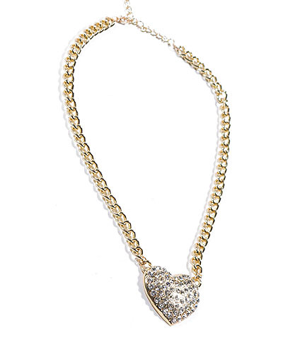 ESSENTIALS - Necklaces - CHAIN RHINESTONE HEART NECKLACE