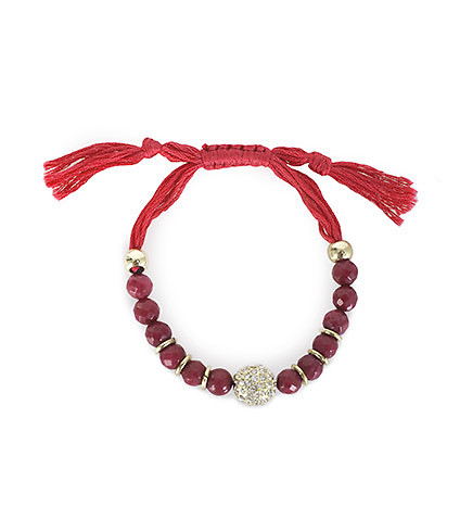ESSENTIALS WOMENS RHINESTONE BEADED BRACELET Red