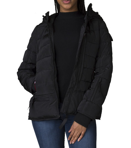 ESSENTIALS WOMENS Hooded Bubble Coat Black