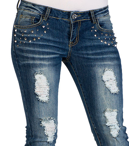 ESSENTIALS - Jeans - STUDDED FRONT RIP JEAN