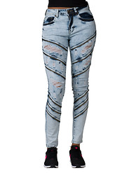 ESSENTIALS RIPPED ASYM ZIPPER TRIM SKINNY JEAN