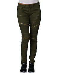 ESSENTIALS MIDWAIST MOTO RIP OFF ZIPPER TRIMS