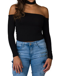 ESSENTIALS OFF SHOULDER CHOKER STRETCH TOP