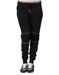 ESSENTIALS MOTO ZIP KNEE TRIM FLEECE PANT