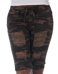 ESSENTIALS CAMO RIP TEARS BERMUDA SHORTS