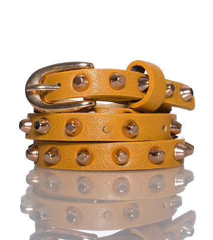 ESSENTIALS WOMENS STUDDED BUCKLE BELT Dark Yellow