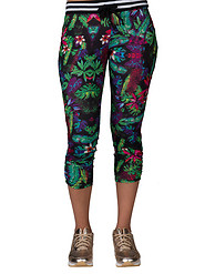ESSENTIALS FLORAL PRINT KNIT ROUCHED CAPRI