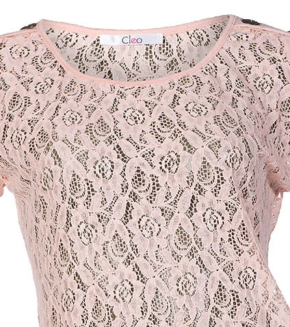 ESSENTIALS - Tops - CROCHET SHELL BUTTON SHOULDER TOP