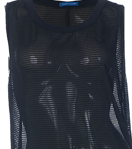 ESSENTIALS - Tank Tops - MESH NET SLEEVELESS TOP