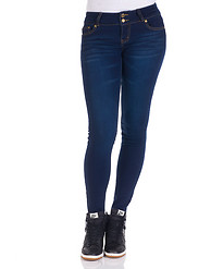 BOOM BOOM JEANS METAL BUTTON WHISPER WASH SKINNY JEAN