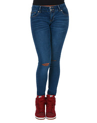 BOOM BOOM JEANS PATCH RIPS SKINNY CURVY JEAN