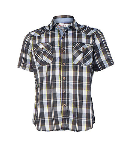 DECIBEL MENS PLAID BUTTON DOWN SHIRT Black