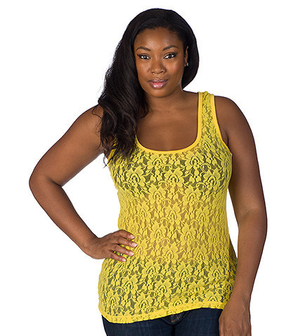 ESSENTIALS WOMENS PLUS LACE SCOOP T-BACK TANK Yellow
